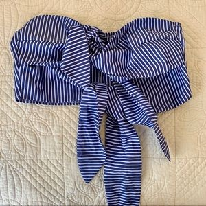 Boohoo Striped Woven Tie Front Crop Top - US Size8